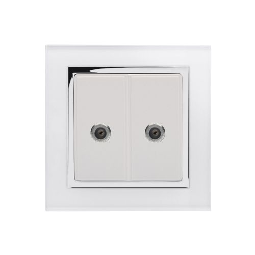 RetroTouch Dual Satellite F Type Socket White Glass CT 00352